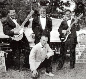 """Steve James (aka Steve Fradkin), Frankie Mento (aka Frank Chiumento), Michael Kaye, and James K. """"Hap"""" Snow in Mattapoisett, Massachusetts in 1962"""