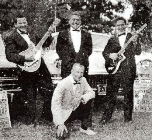 "Steve James (aka Steve Fradkin), Frankie Mento (aka Frank Chiumento), Mike Kaye (aka Mike Konowitz) and James K. ""Hap"" Snow in Mattapoisett, Massachusetts in 1962"