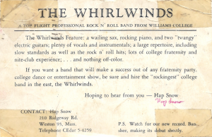 reverse side of Whirlwinds postcard from 1958 (courtesy of Luci Bearon)