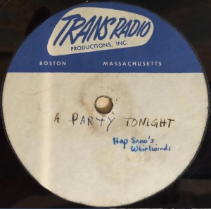 "Hap Snow's Whirlwinds - ""(Let's Have) A Party Tonight"" (1960) Trans Radio demo"