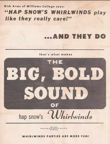 """The Big Bold, Sound of Hap Snow's Whirlwinds"" handbill, circa 1963"