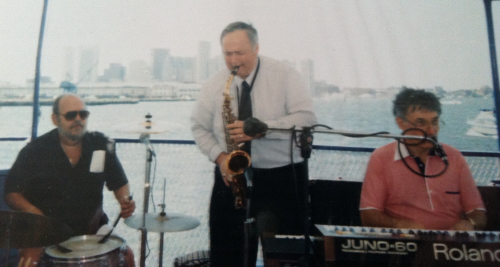 saxman Pete Stefan and keyboardist Michael Kaye on boat in Boston Harbor