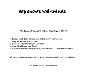 Hap Snow's Whirlwinds - The Basement Tapes, Vol. I: Home Recordings 1958-1959 EP back