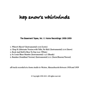 Hap Snow's Whirlwinds - The Basement Tapes, Vol. II: Home Recordings 1958-1959 EP back