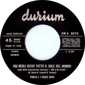 """I Crazy Boys' """"Hai negli occhi tutto il sole del mondo"""" (1968) Durium label"""