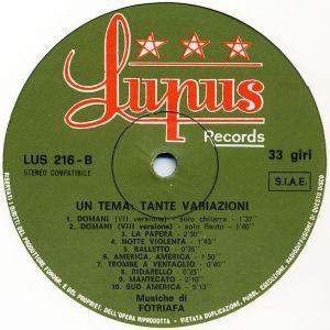 Fotriafa (aka Stefano Torossi) - Una tema: Tante variazioni (early 1970s) Lupus Records label