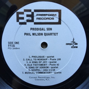 Phil Wilson Quartet - Prodigal Son (1968) Freefrom Records label A